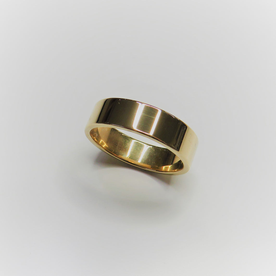 9ct Yellow Gold 6mm Flat Wedding Band