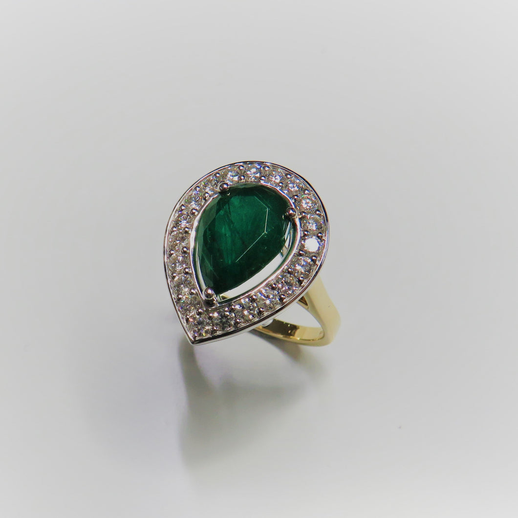 18ct Yellow Gold Pear Shaped Emerald & Diamond Halo Ring