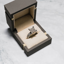 Load image into Gallery viewer, 9ct White Gold Square Illusion Set Diamond Ring with Diamond Set Shoulders