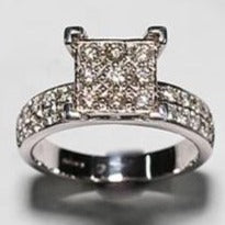 9ct White Gold Square Illusion Set Diamond Ring with Diamond Set Shoulders