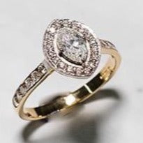 18ct Yellow Gold Marquise Halo Diamond Ring with Diamond Set Shoulder