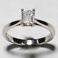 Load image into Gallery viewer, Second Hand Platinum Solitaire Emerald Cut Diamond Ring Certified