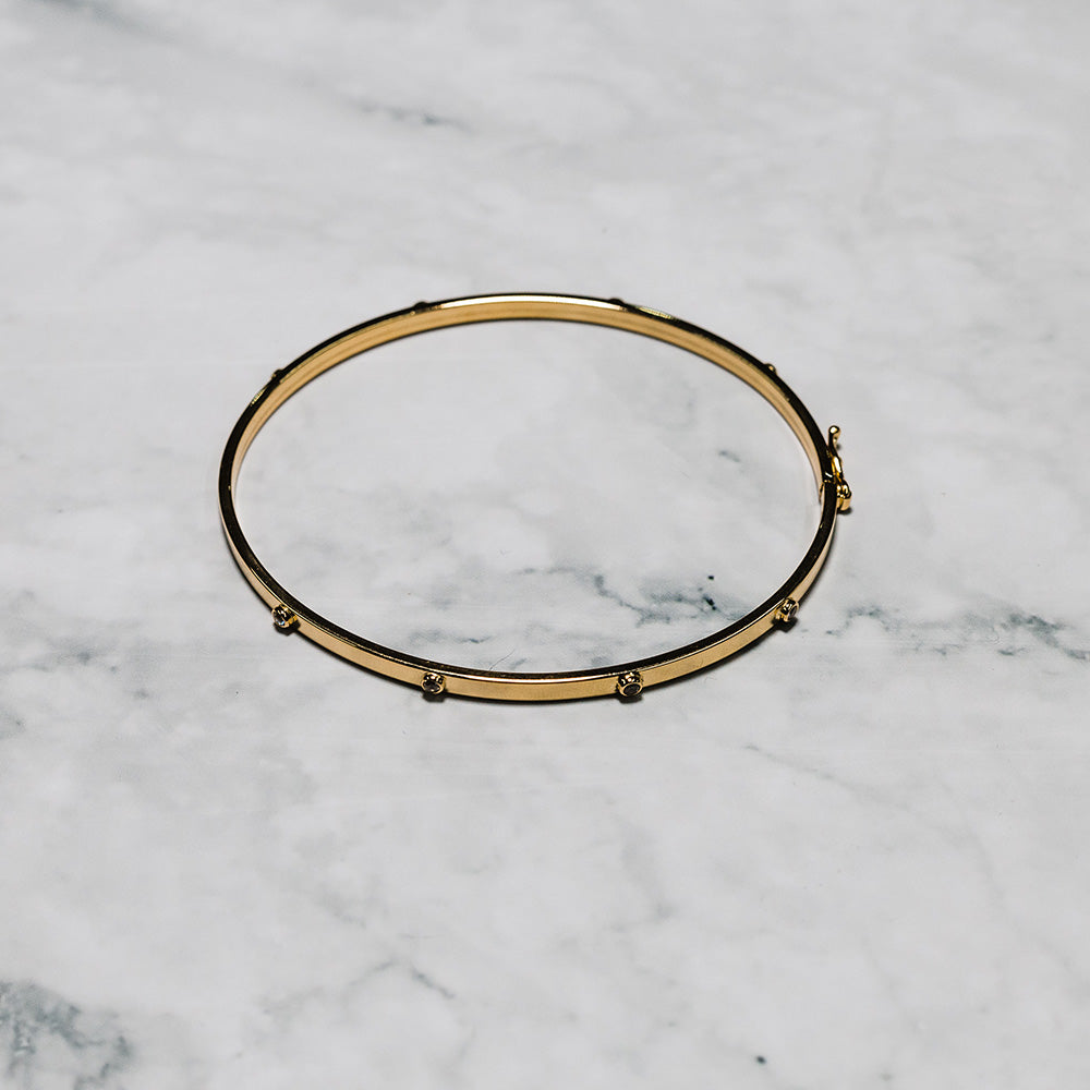 9ct Gold 3mm Broad Bangle Set with Cubic Zirconia
