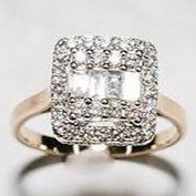 9ct Yellow Gold Diamond Halo Ring Set with Brilliant Cut Diamonds & Baguette Diamonds