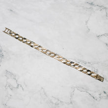 Load image into Gallery viewer, 9ct Yellow Gold New Gents Bracelet with Half Barked Finish