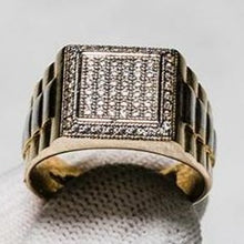Load image into Gallery viewer, 9ct Yellow Gold Two Tone Block Style Ring Set with Cubic Zirconia