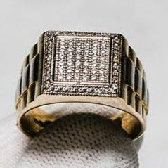 9ct Yellow Gold Two Tone Block Style Ring Set with Cubic Zirconia