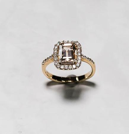 9ct Yellow Gold Morganite & Diamond Ring with Diamond Set Halo & Shoulders