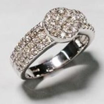 Load image into Gallery viewer, 9ct White Gold Diamond Cluster Ring with Diamond Set Shoulders