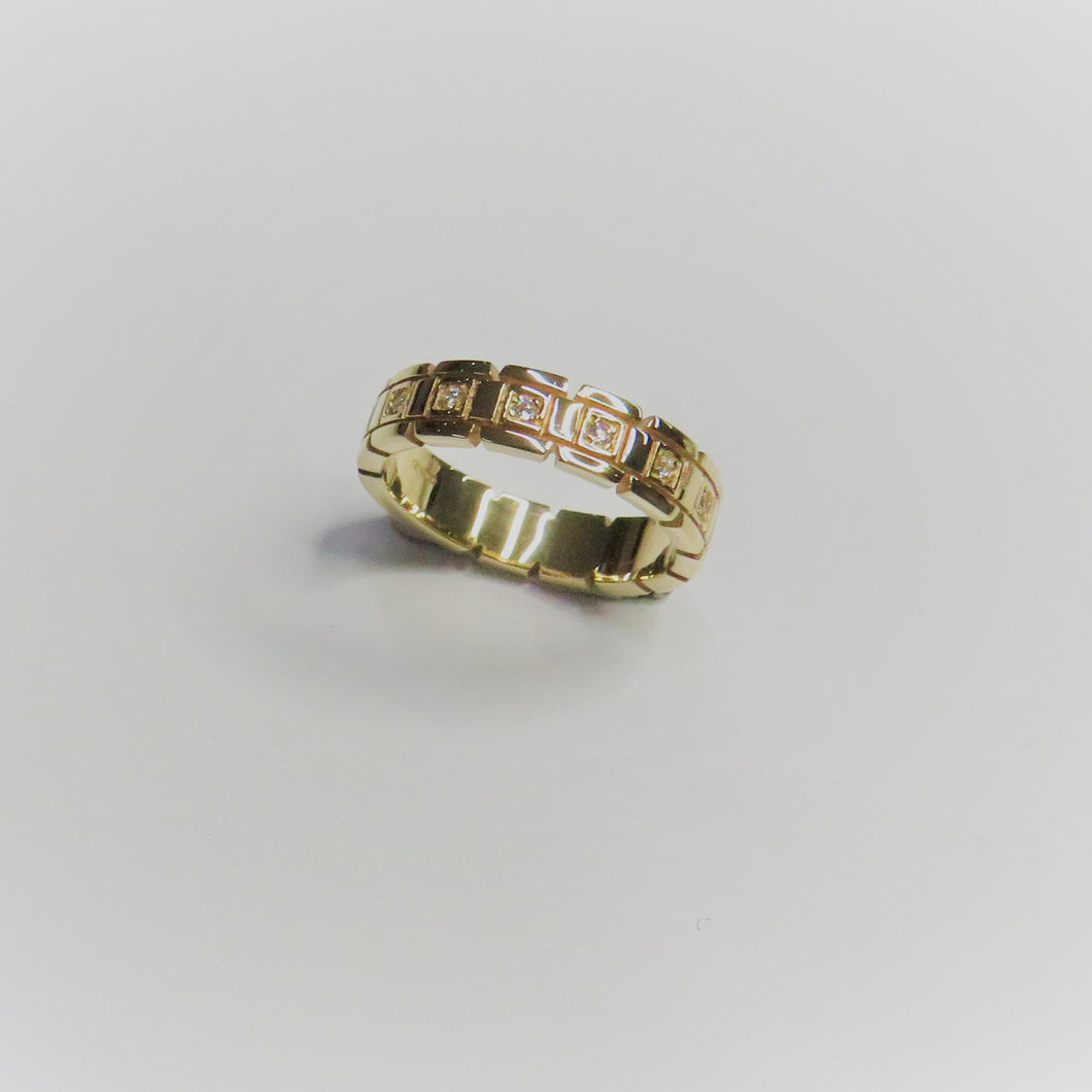 9ct Yellow Gold 5mm 1 Row Stone Set Band
