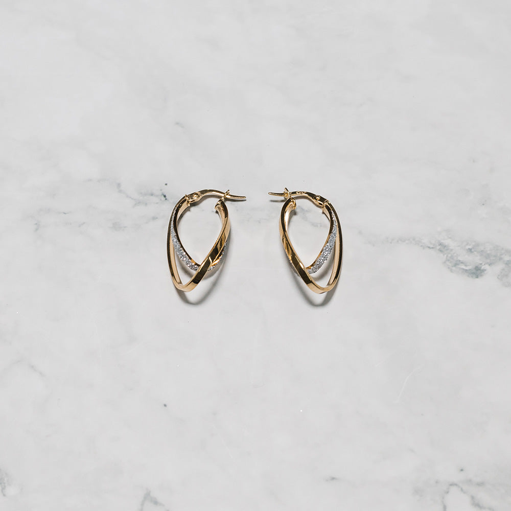 9ct Gold Earrings with Frosted Finish