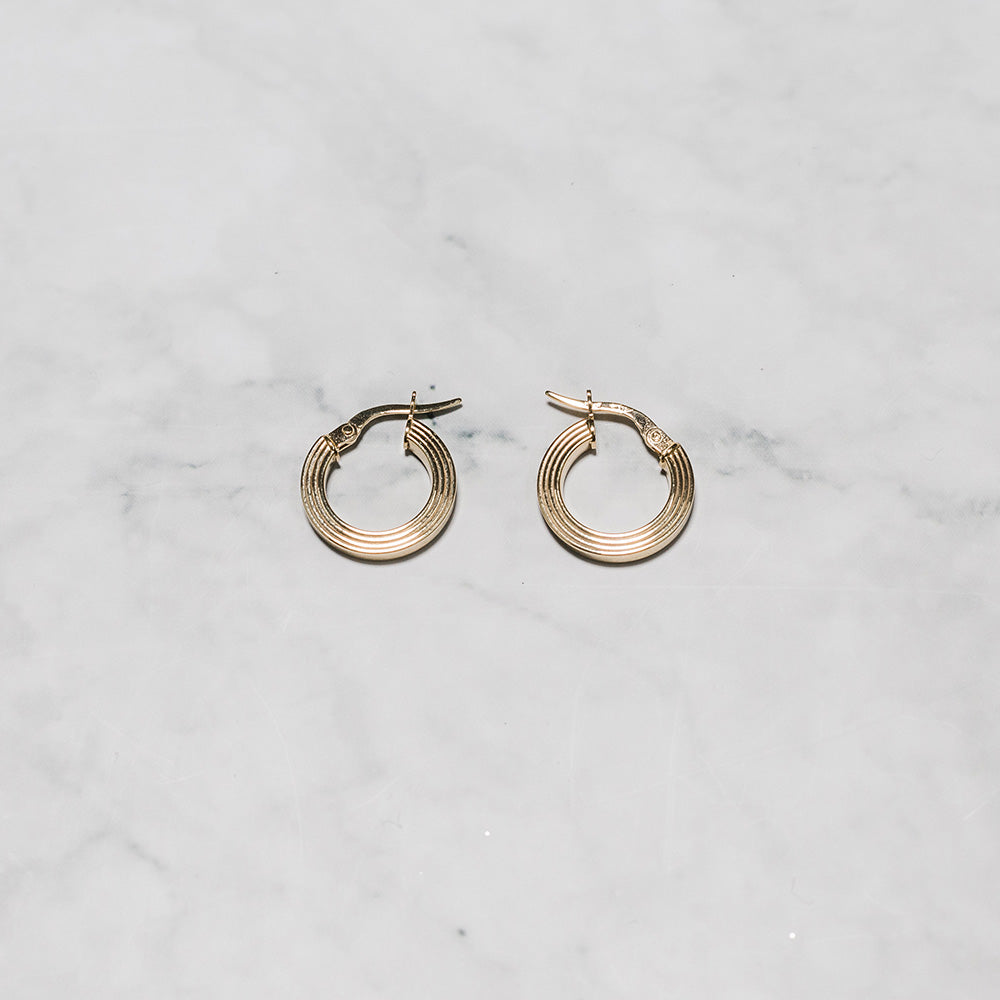9ct Gold Earrings with Triple Line Finish