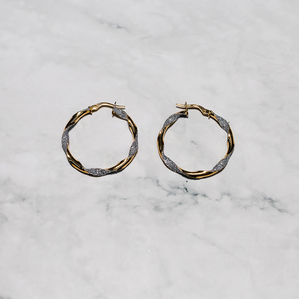 9ct Gold Earrings with Twisted Frosted Finish