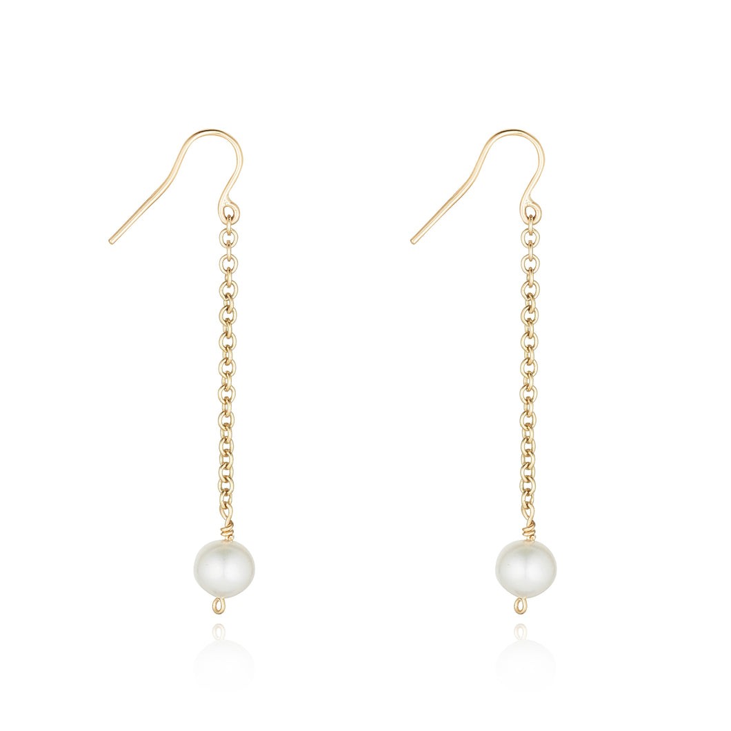 9ct gold and freshwater cultured pearl drop earrings
