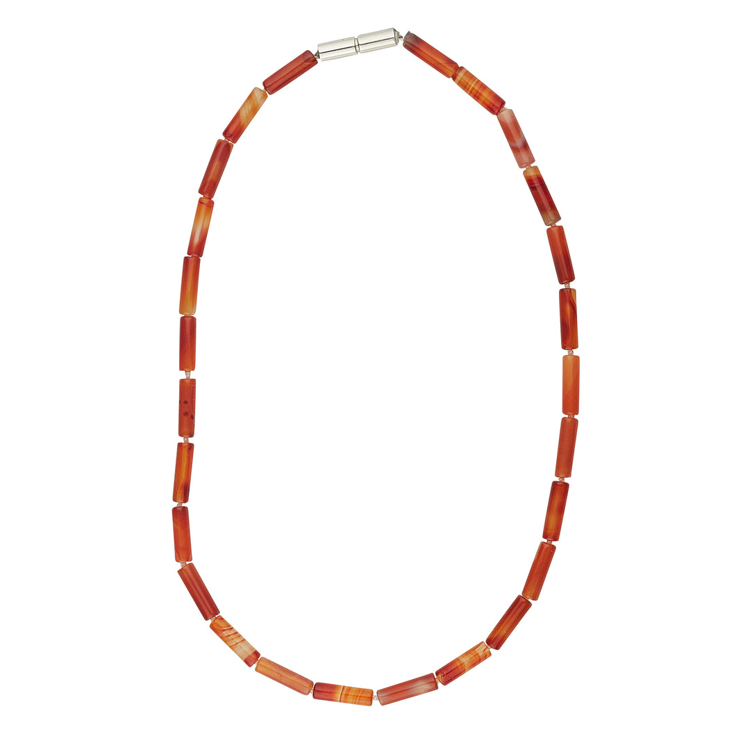 Carnelian necklace with sterling silver catch