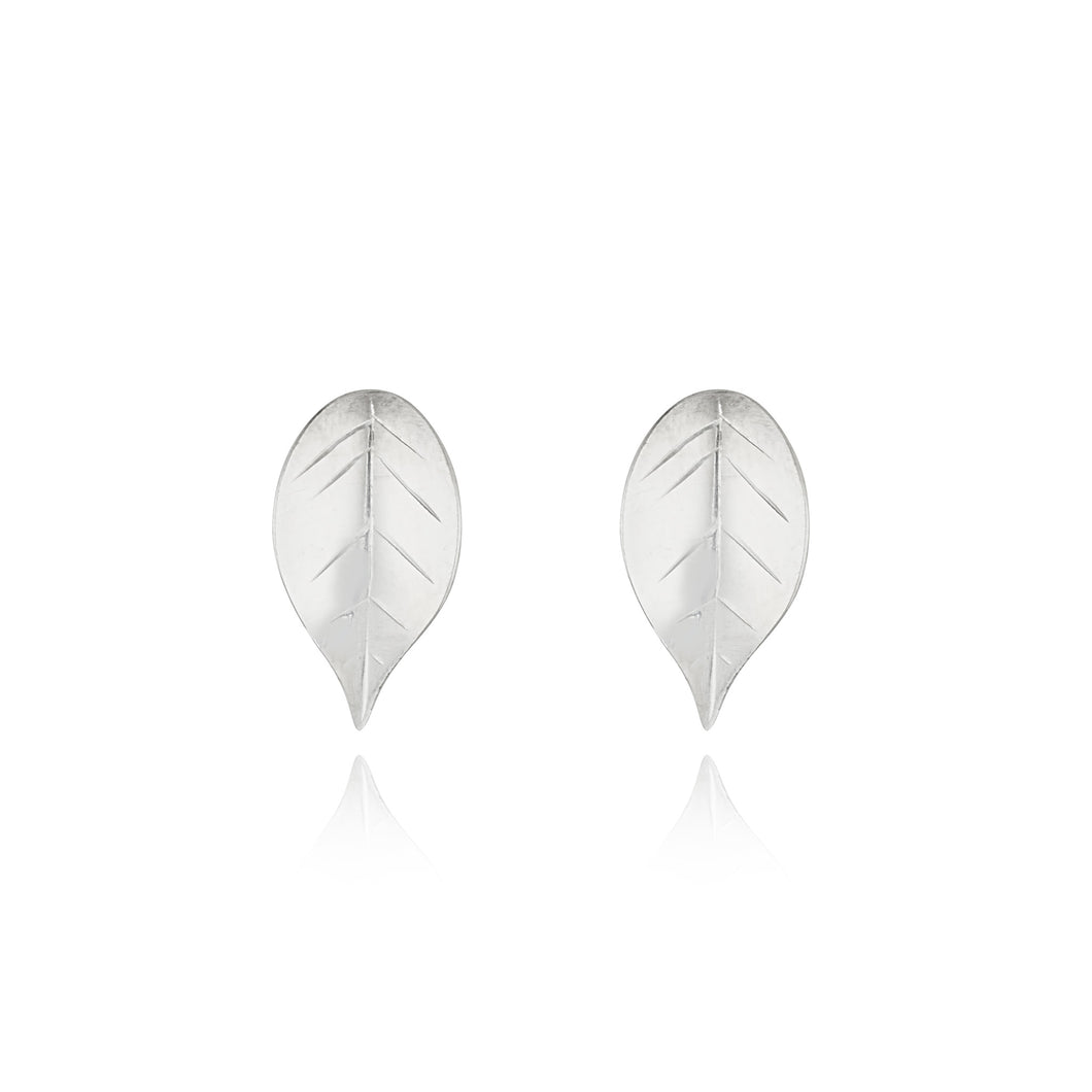 Fallen leaves ear studs - sterling silver- small