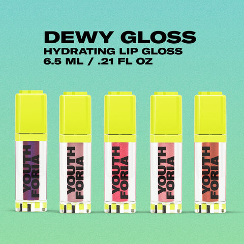 dewy glosses on a blue green background