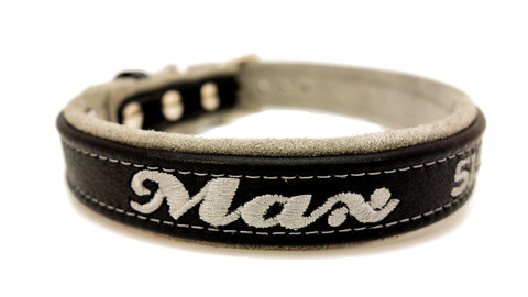 Leather Dog Collar Adjustable Leather with Soft Suede Lining