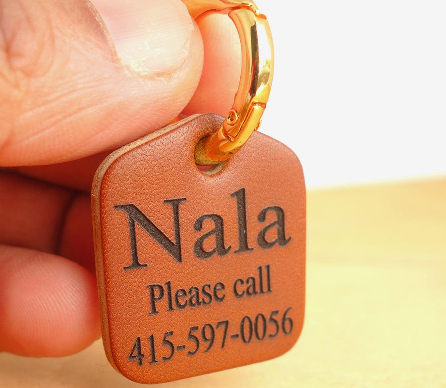 Pet ID Tag Personalized for Dog Collars in Leather Easy on New Spring Ring