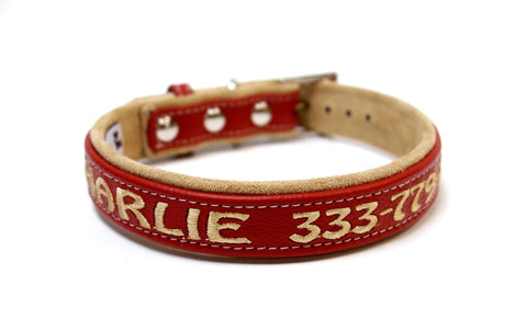 One inch wide Adjustable Leather and Suede Dog Collar