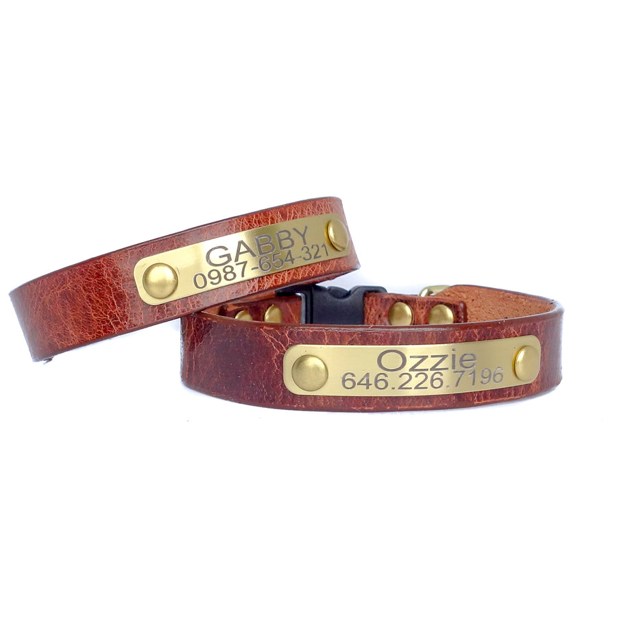 Cat Collar Personalized Buffalo Leather  with Engraved Plate