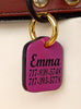 "Personalized Pet ID Tag Engraved for Dog Collars in Leather Lilac 1.25"" x 1.5"""