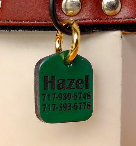"Personalized Pet ID Tag Engraved for Dog Collars in Leather Green 1.25"" x 1.5"""
