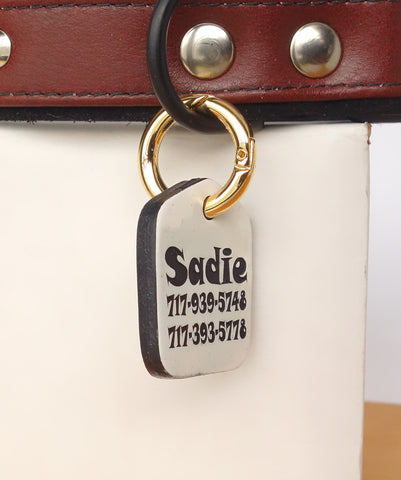 "Personalized Pet ID Tag Engraved for Dog Collars in Leather White 1.25"" x 1.5"""