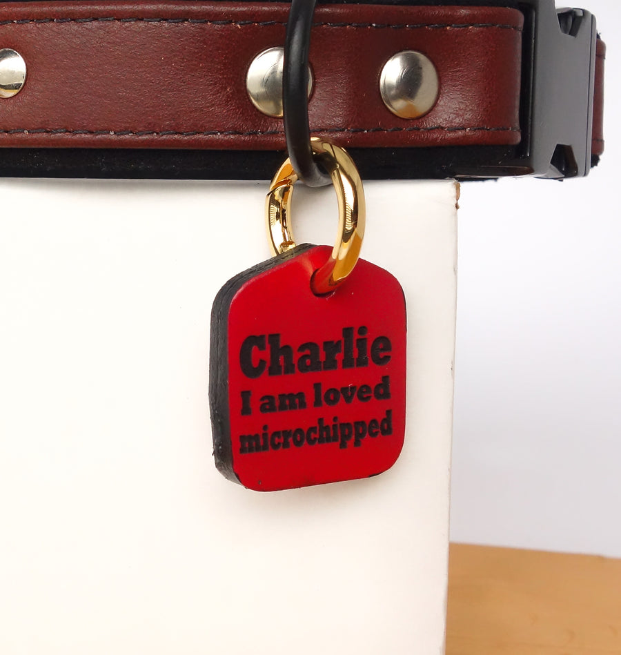 Personalized Pet ID Tag Engraved for Dog Collars in Leather Red 1.25