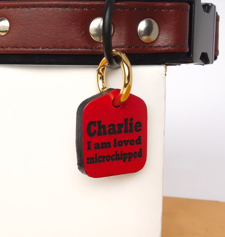 "Personalized Pet ID Tag Engraved for Dog Collars in Leather Red 1.25"" x 1.5"""