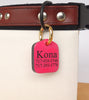 "Personalized Pet ID Tag Engraved for Dog Collars in Leather Hot Pink 1.25"" x 1.5"""