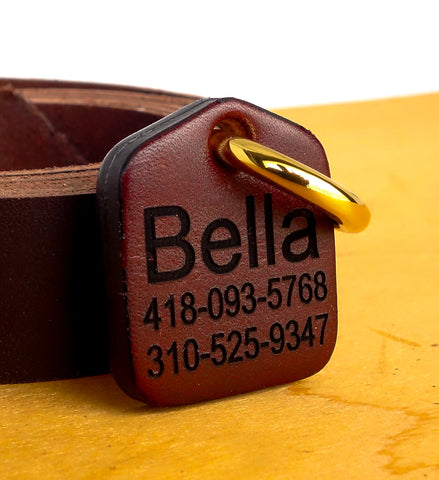 "Dog ID Tag Engraved Personalized for Dog Collars in Leather Brown 1.25"" x 1.5"""