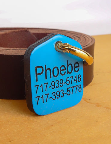 "Personalized Pet ID Tag Engraved for Dog Collars in Leather Sky Blue 1.25"" x 1.5"""