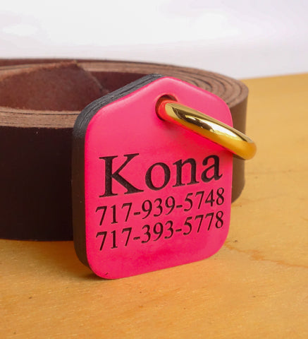 Personalized Pet ID Tag Engraved for Dog Collars in Leather Hot Pink 1.25