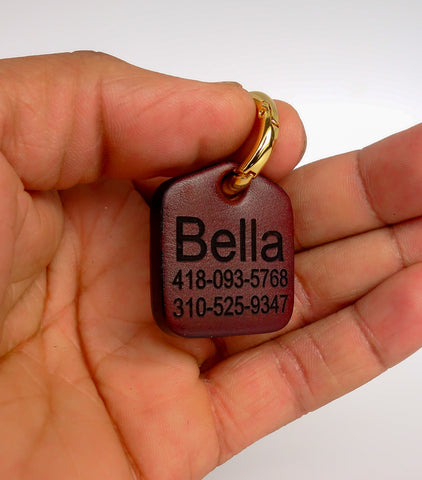 "Personalized Pet ID Tag Engraved for Dog Collars in Leather Brown 1.25"" x 1.5"""