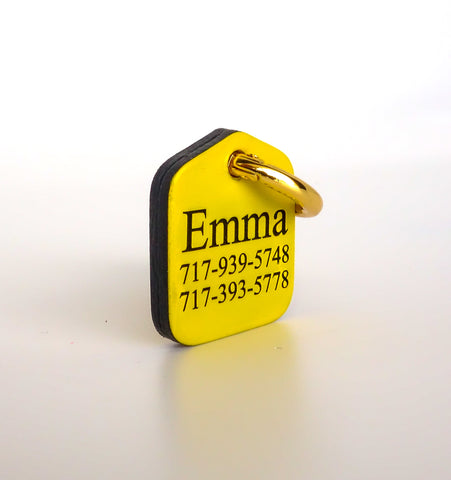 "Personalized Pet ID Tag Engraved for Dog Collars in Leather Yellow 1.25"" x 1.5"""