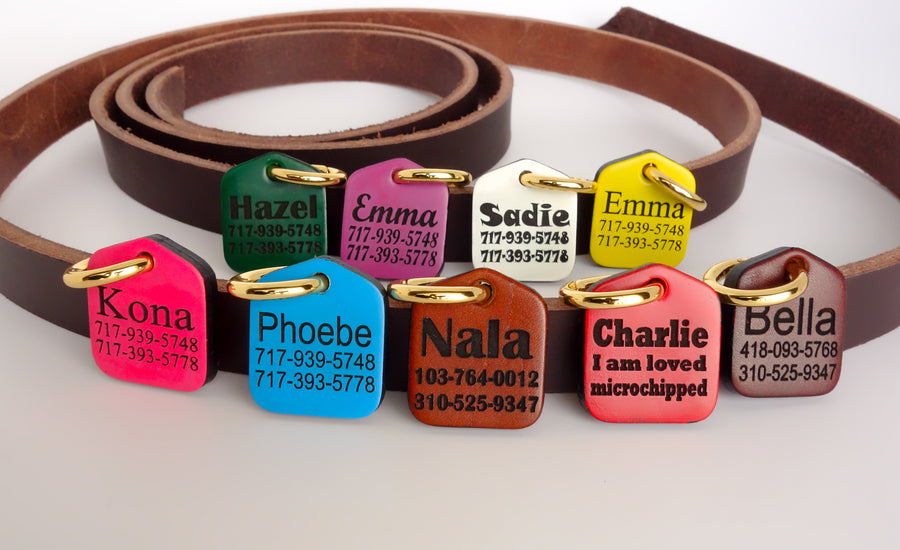 Personalized Pet ID Tag Engraved for Dog Collars in Leather Green 1.25