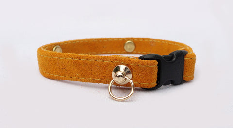 Sweet Suede Cat Collar - (sample in Gold, 17 colors to choose from)