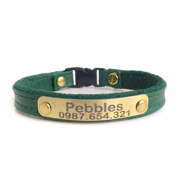 Cat Collar Personalized with Leather Pet ID Aluminum Metal Tag Color