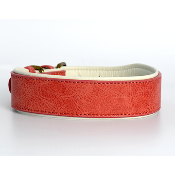 Pink White Leather Dog Collar in 2 Inch Wide