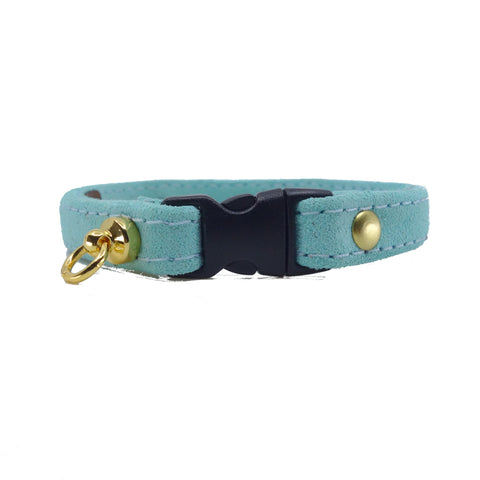 Light Aqua Suede Cat Collar