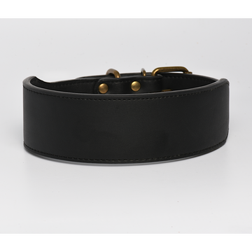 Black Leather Dog Collar in 2 Inch Wide