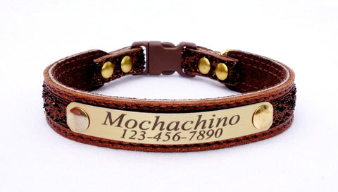 Leather Cat Collar - (with sample Bronze leather and #2 ribbon /suede choice)