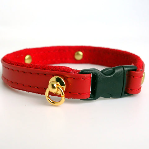 Cat Collar Personalized with Leather ID Tag Red Color