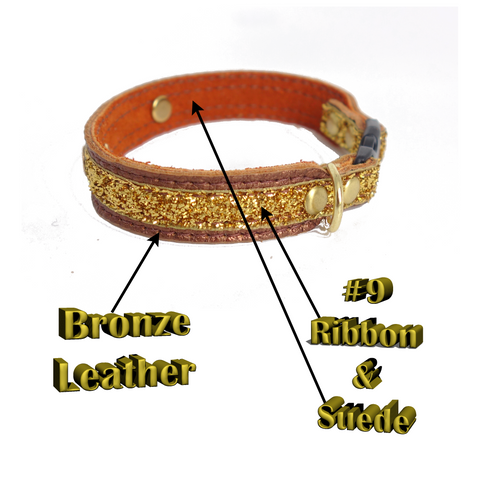 Leather Cat Collar Lined With Soft Suede Engraved Lightweight Plate Five Eights Tapers down to Three Eights Width