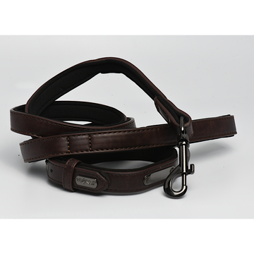 Dark Brown Black Padded Leather Leash and Collar Set 3/4
