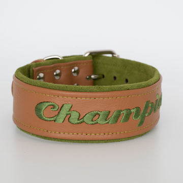Cognac Leather and Suede Dog Collar personalized 3 widths available