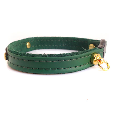 Cat Collar Personalized with Leather Pet ID Tag Green Color