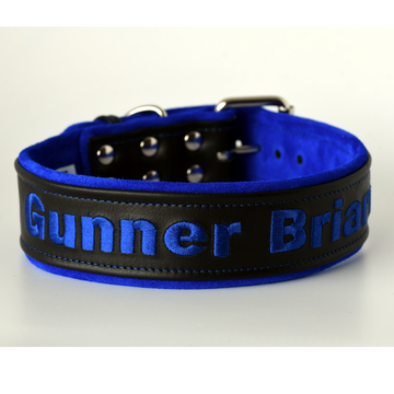 Black Leather and Suede Dog Collar personalized 3 widths available