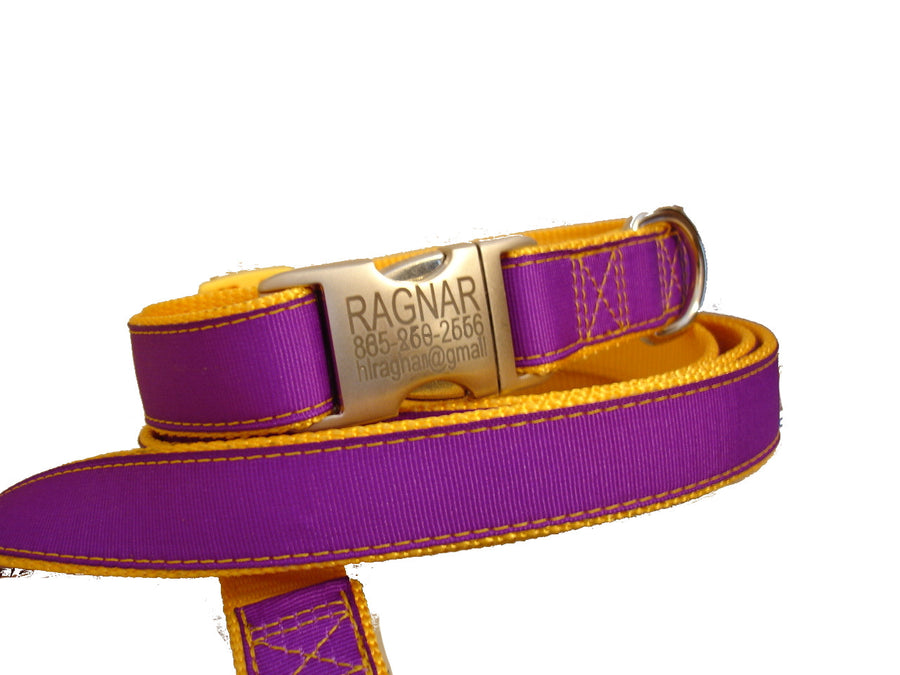 Solid Ribbon/Nylon Dog Collars with engraved aluminum buckle